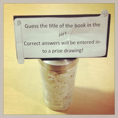 guess the book- cute idea, but the book shredding makes me sad. Most weeded books probably won't be popular enough for people to guess.