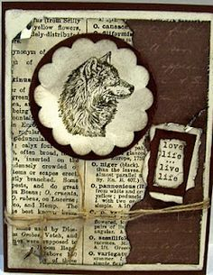 Another distressed card by Maria Vanderform... love the wolf