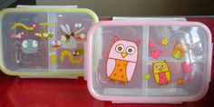 O.R.E. makes these adorable 'bento' boxes!  Only 6.99 each they are divided with a snap shut lid and made from a BPA free plastic.  We also carry matching lunch saks!
