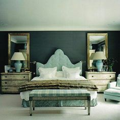 Drapery Design: Upholstered Headboards via dwellingsanddecor.tumblr.com