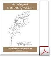 """Embroidery pattern - """"Heartfelt Peacock Feather"""""""