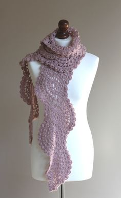 Crocheted long lace scarf in smokey rose