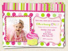 Cupcake Invitations by LollipopPrints on Etsy, $12.00