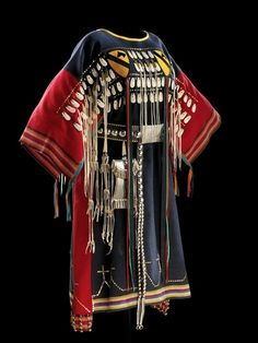 Woman's Battle Dress, worn by female relatives of warriors of the Ton-Kon-Ga (Kiowa Black Leggings Society)