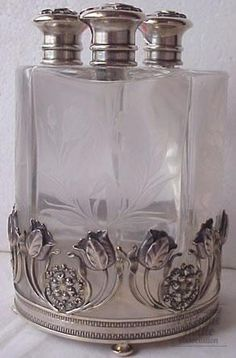 Art Nouveau  Caskets & Bottle Sets  glass & sterling  American  1900