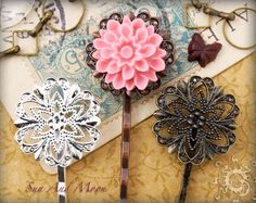 Vintage Style Filigree Hairpins - 20mm Pad