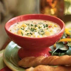 Potato, Corn, and Leek Chowder | MyRecipes.com - Got all 3 main ingredients in my Co-op basket today :)