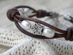 DIY Lovely design. #diy #bracelet leather bracelets diy, diy bracelets leather, pearl bracelets, silver bracelets, diy pearl jewelry, flower bracelet, diy leather bracelet, leather bracelet diy, diy bead bracelets
