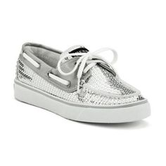 Sperry Women's Casual Boat: Women's Bahama Boat Shoe Silver Sequins