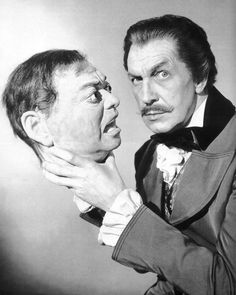 Vincent Price with a wax head of Peter Lorre