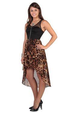 Deb Shops mesh tank straps bra bodice cheetah chiffon high low $34.90
