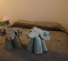 elephant folded towels