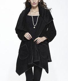 Black Plush Open Sidetail Jacket #zulily #zulilyfinds