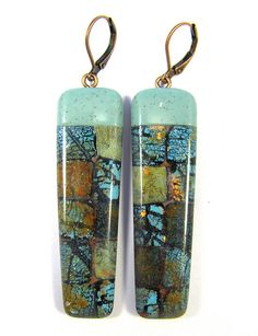 Aqua Square Mosaic Turquoise Earrings by DivaDesigns