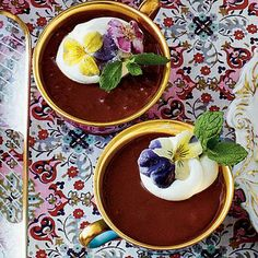Chocolate-Espresso Pots de Crème | It cannot get much better when chocolate and coffee are in the same dessert. Top this treat with edible flowers for the perfect touch. Take your pick at crystallizedflowers.com. | SouthernLiving.com
