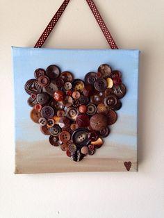 Handmade button heart, button mosaic,  heart art