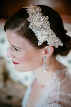beaded headband, photo by Tory Williams http://ruffledblog.com/georgia-railroad-museum-wedding #weddinghair #hair #accessories