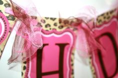 Leopard Print and Hot Pink Birthday Banner