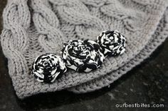 rolled fabric flowers for hats or hair barretts