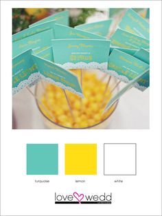 turquoise, yellow, white #color palette #wedding