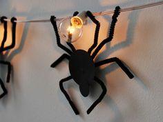 Easy DIY Spooky Spider Strand Lights >> http://blog.diynetwork.com/maderemade/how-to/spooky-spider-strand-lights/?soc=pinterest