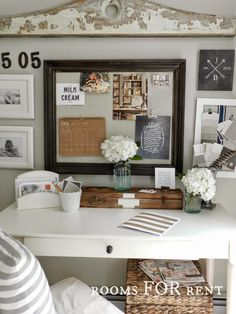 neutral home office decor - I love color but this look also appeals to me so much!