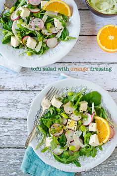 Tofu salad with orange dressing (modify the dressing to be oil-free)