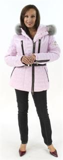 Never Lost in an Avalanche Palest Pink Hooded Ski Jacket with Fox Trim