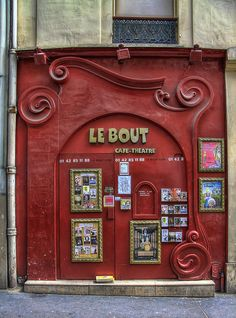 Paris paris, doorway, red, le bout, cafe, front, french, franc, place