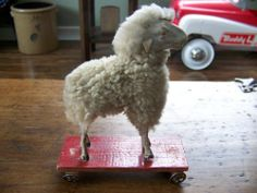 ANTIQUE GERMAN WOOLY PUTZ SHEEP PULL TOY 6 inches - sold $200