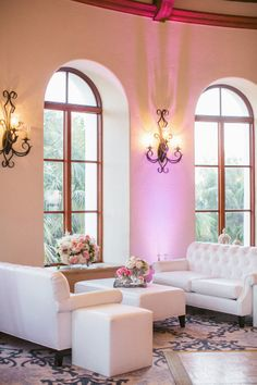 White Lounge Area at Wedding at Bacara Resort   photography by http://jasminestar.com/ loung area, lounge areas, window, wedding lounge