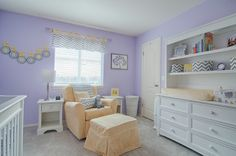 Such a sweet shade a lavender with complementary yellow & gray accents.  #chevron #lavender #nursery #yellowchair