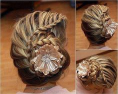 Cute french braids, shell, beach wedding hair, hairstyle ideas, beach weddings, braid hairstyles, hair style, wedding hairstyles, flower