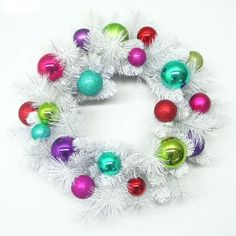 "24"" Decorated Wreath, White/Multi. Erika's style."