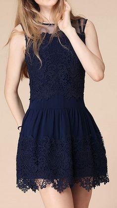 Mini Blue Lace Dress