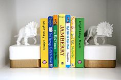Gold dipped DIY t-rex bookends from Bower Power. Love it for F's nursery.