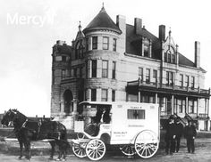 The Sisters of Mercy first opened #Mercy Hospital in a temporary building in Joplin in 1896. This photo of a horse-drawn ambulance was taken in front of the new hospital building which opened in 1900, and renamed St. John's. #throwbackthursday #tbt