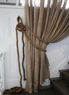 Rustic glam burlap linen curtains