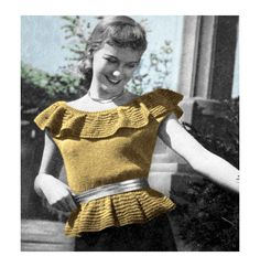 1940s Off Shoulder Peasant Peplum Pin Up Blouse Knitting Pattern PDF. $3.00, via Etsy.