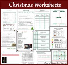 christma worksheet, worksheet packet, christmas trees