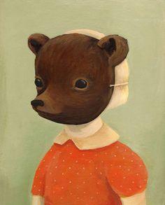 emili winfield, bear disguis, black appl, bears, poster, mask, winfield martin, prints, illustr