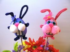 DIY Easter Bunny - Easter crafts for kids. Cute silly rabbit decoration with Styrofoam eggs, pom poms, googly eyes.