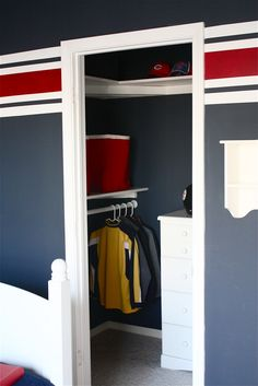Love this closet for the boys room.