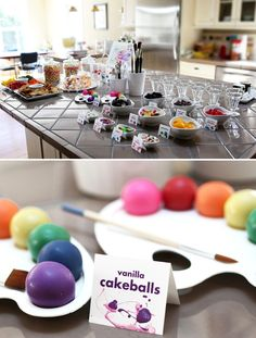 Art themed party - especially like the cake pop paint palettes, colourful fruit & candy station, & LOVE the idea of doing your own photo booth where a parent takes all the pics with $ store & pre-owned props to ensure lots of fun memories for the guests & birthday boy/girl!
