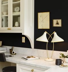Black and  White Kitchen featuring Lynwood Double Lamp | Rejuvenation