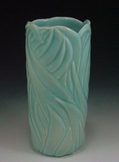 GreenCylinder anne ginkel carved pottery ceramics clay potteri clay, ceram clay