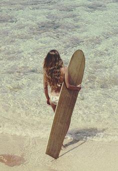 vintage • surfboard • surfer girl