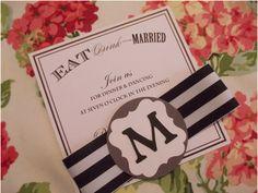 black and white striped wedding invitations