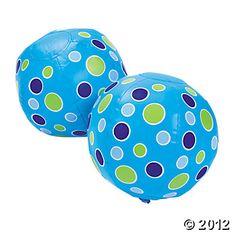 Inflatable Mini Blue Polka Dot Beach Balls