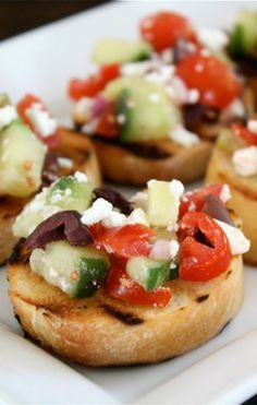 Greek Bruschetta Recipe on twopeasandtheirpod.com This easy appetizer is always a hit at parties!